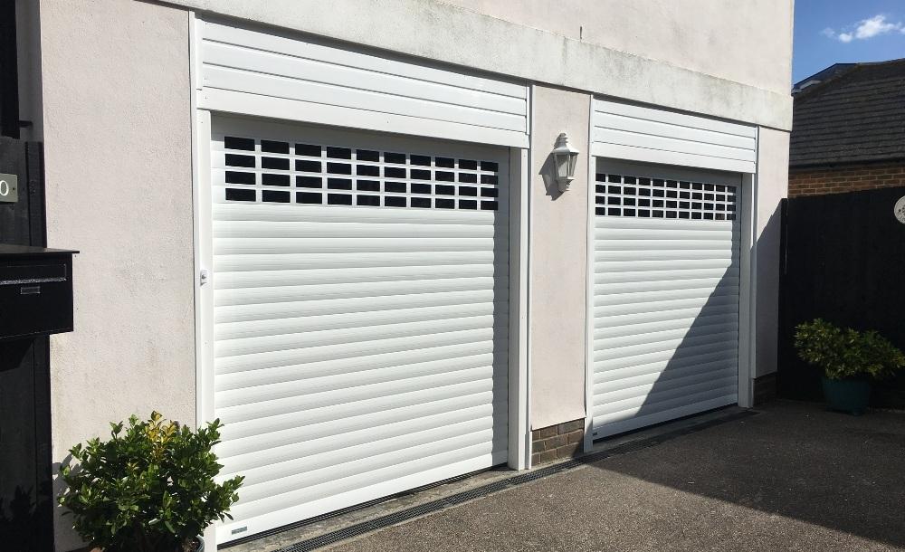Roller garage door with windows