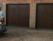Side-hinged wood-effect garage doors