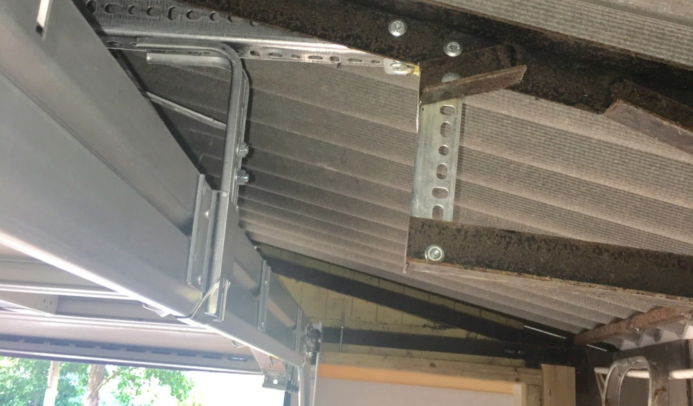 New metal framework for new garage door